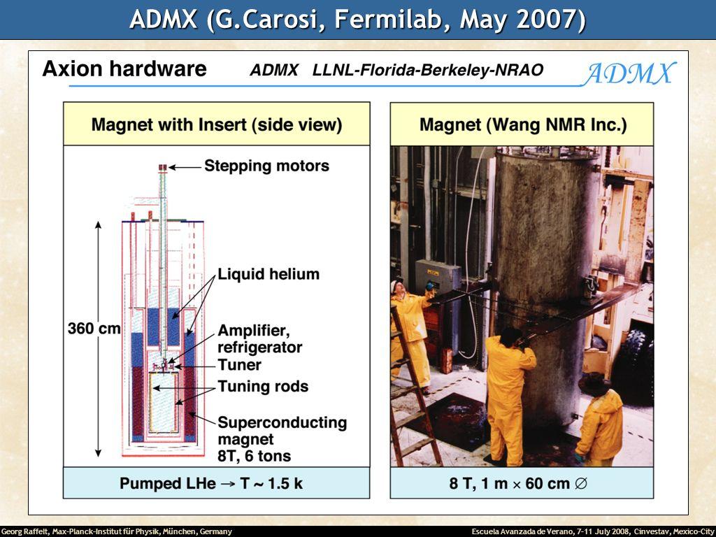 Georg Raffelt, Max-Planck-Institut für Physik, München, Germany Escuela Avanzada de Verano, 7-11 July 2008, Cinvestav, Mexico-City ADMX (G.Carosi, Fermilab, May 2007)