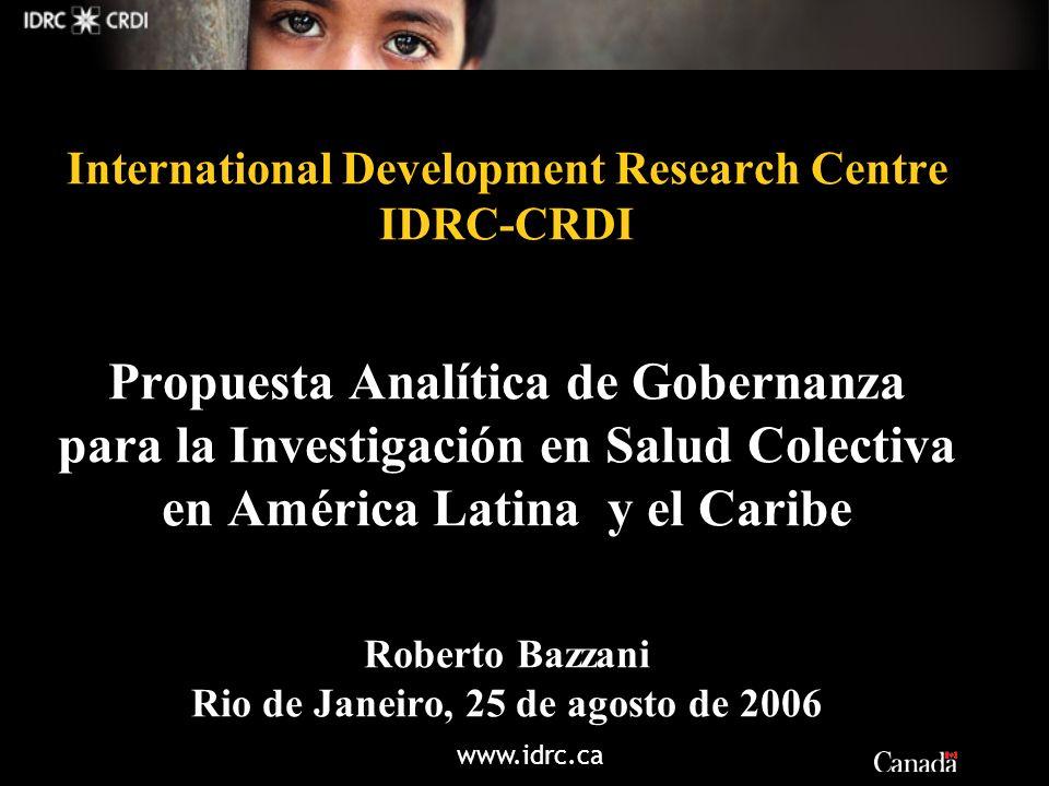 www.idrc.ca International Development Research Centre IDRC-CRDI Propuesta Analítica de Gobernanza para la Investigación en Salud Colectiva en América