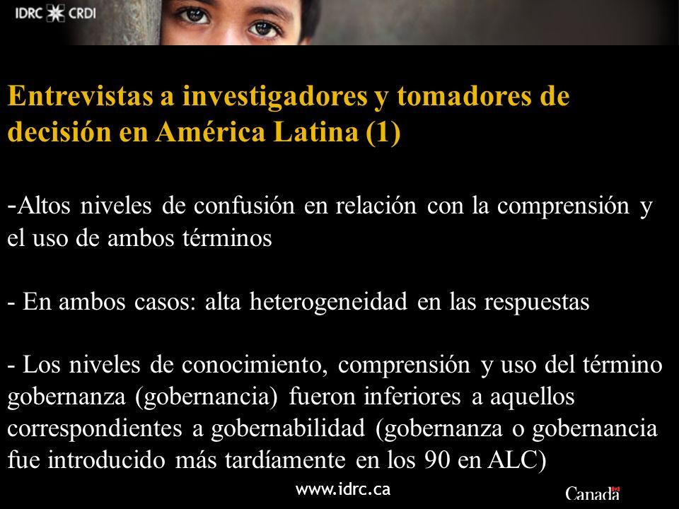 www.idrc.ca Entrevistas a investigadores y tomadores de decisión en América Latina (1) - Altos niveles de confusión en relación con la comprensión y e