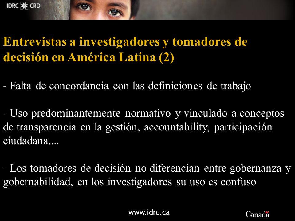 www.idrc.ca Entrevistas a investigadores y tomadores de decisión en América Latina (2) - Falta de concordancia con las definiciones de trabajo - Uso p