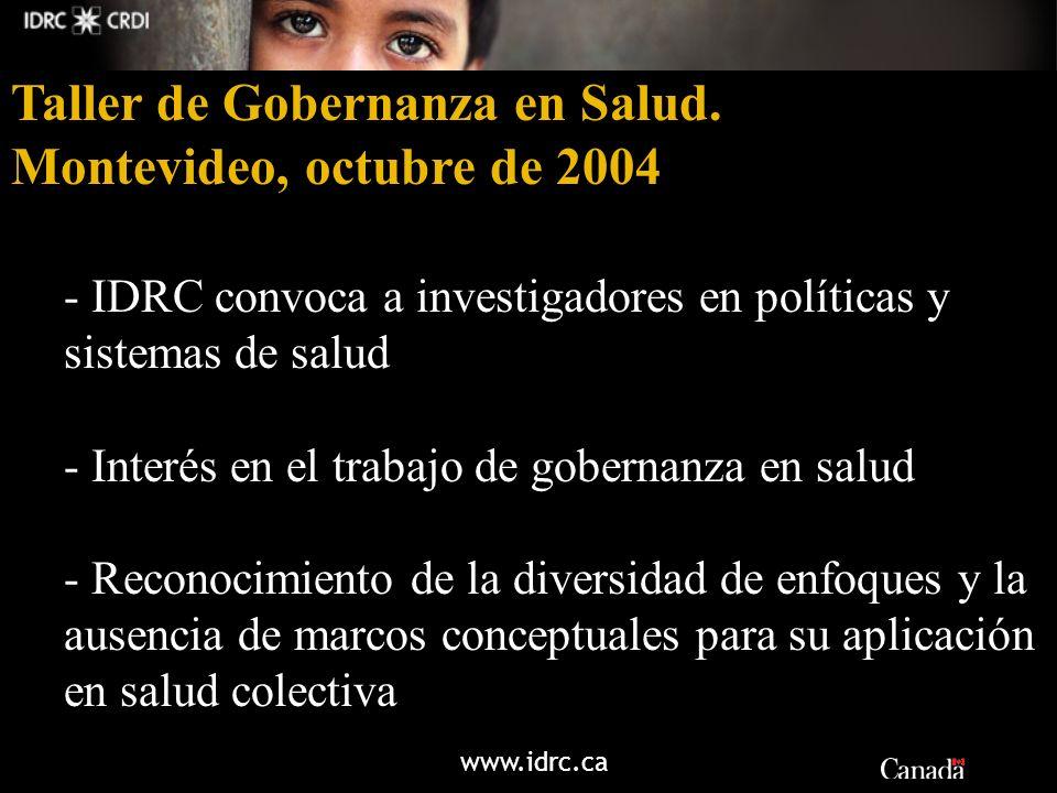 www.idrc.ca Taller de Gobernanza en Salud. Montevideo, octubre de 2004 - IDRC convoca a investigadores en políticas y sistemas de salud - Interés en e