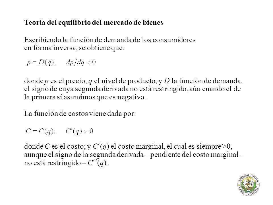 Teoría del equilibrio del mercado de bienes Escribiendo la función de demanda de los consumidores en forma inversa, se obtiene que: donde p es el prec