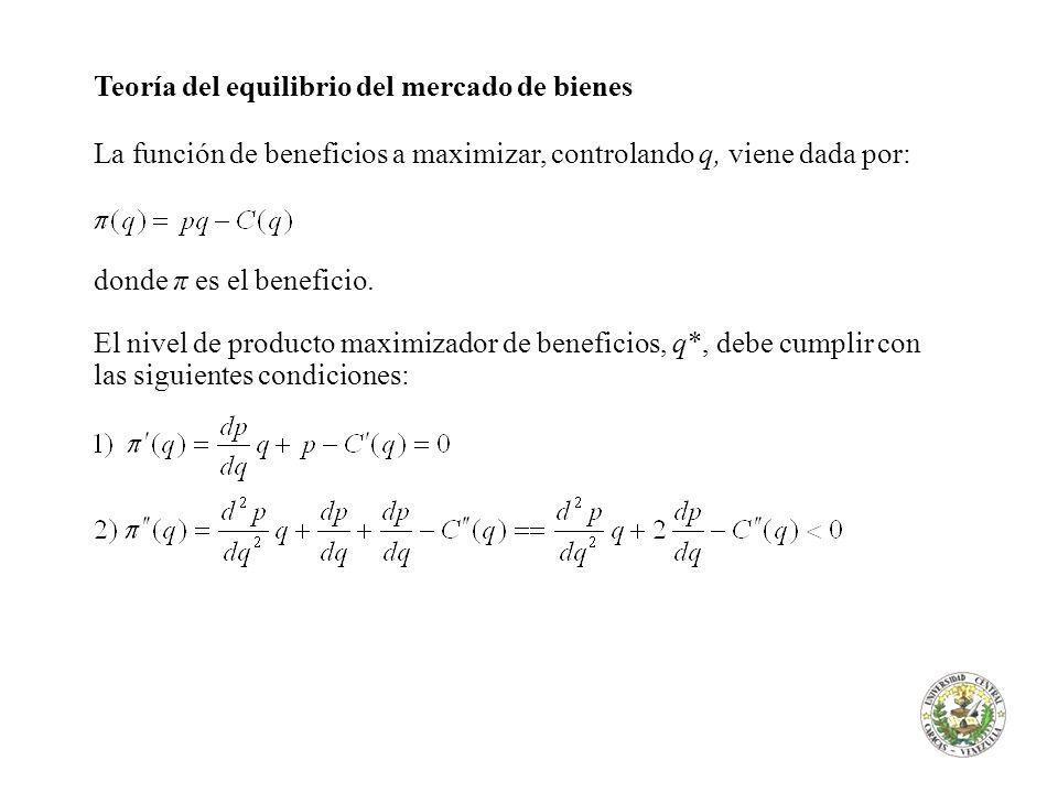 Teoría del equilibrio del mercado de bienes La función de beneficios a maximizar, controlando q, viene dada por: donde π es el beneficio. El nivel de