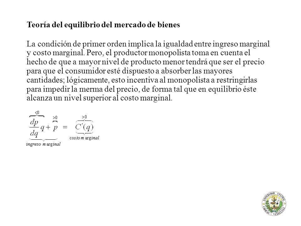 Teoría del equilibrio del mercado de bienes La condición de primer orden implica la igualdad entre ingreso marginal y costo marginal. Pero, el product