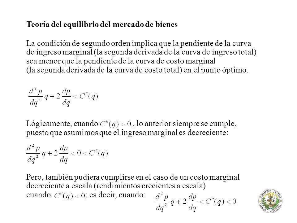 Teoría del equilibrio del mercado de bienes La condición de segundo orden implica que la pendiente de la curva de ingreso marginal (la segunda derivad