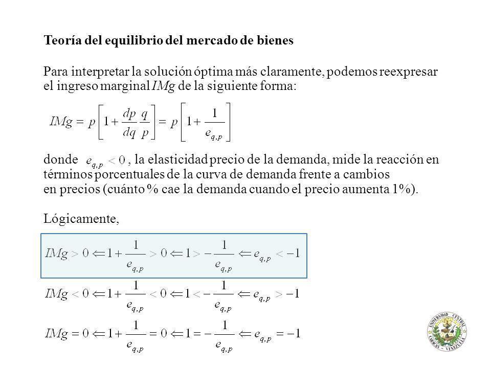 Teoría del equilibrio del mercado de bienes Para interpretar la solución óptima más claramente, podemos reexpresar el ingreso marginal IMg de la sigui