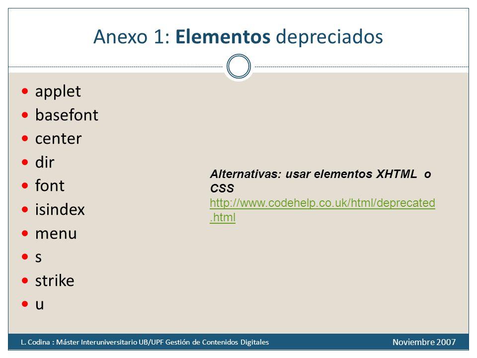 Anexo 1: Elementos depreciados applet basefont center dir font isindex menu s strike u Noviembre 2007 L. Codina : Máster Interuniversitario UB/UPF Ges