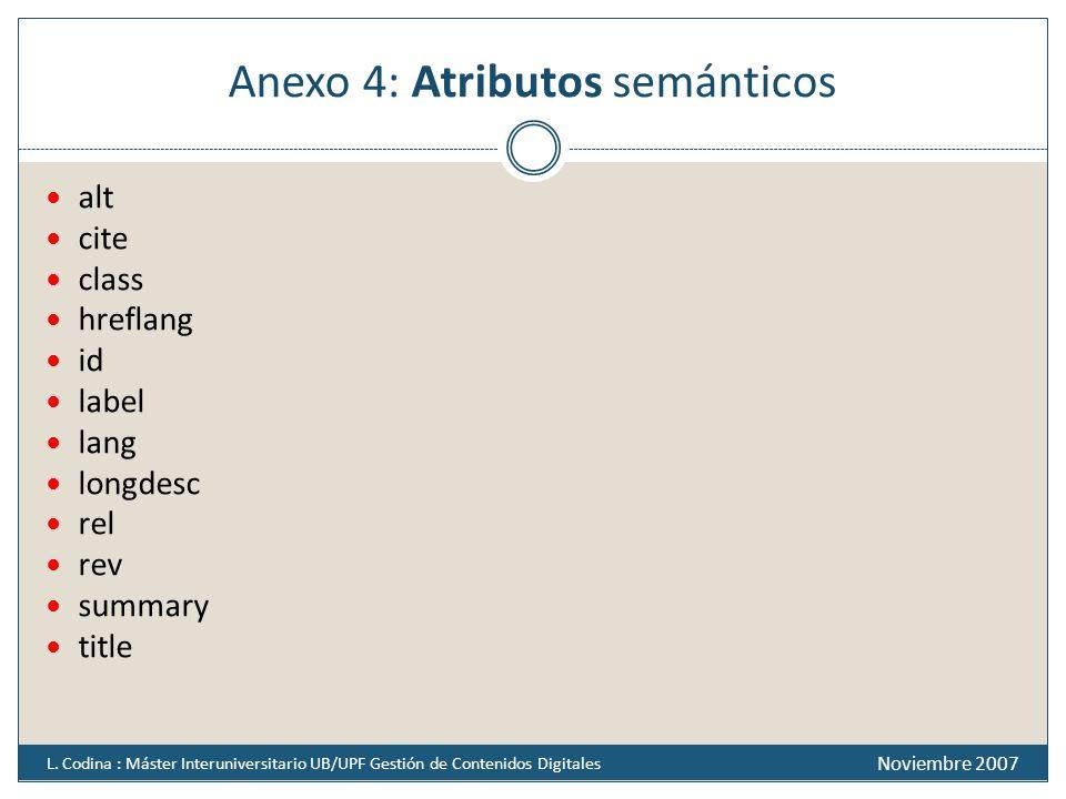 Anexo 4: Atributos semánticos alt cite class hreflang id label lang longdesc rel rev summary title Noviembre 2007 L. Codina : Máster Interuniversitari