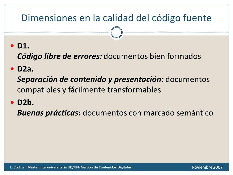 Dimensiones en la calidad del código fuente D1. Código libre de errores: documentos bien formados D2a. Separación de contenido y presentación: documen