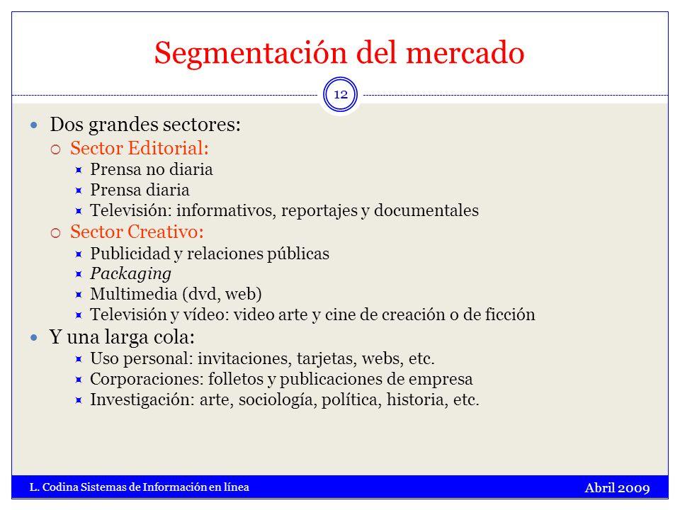 Segmentación del mercado Abril 2009 L. Codina Sistemas de Información en línea 12 Dos grandes sectores: Sector Editorial: Prensa no diaria Prensa diar