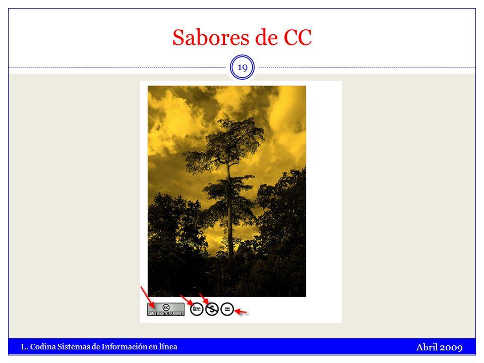 Sabores de CC Abril 2009 L. Codina Sistemas de Información en línea 19