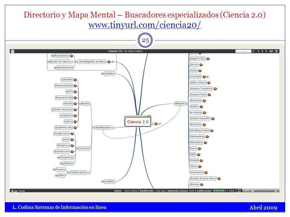 Directorio y Mapa Mental – Buscadores especializados (Ciencia 2.0) www.tinyurl.com/ciencia20/ www.tinyurl.com/ciencia20/ Abril 2009 L. Codina Sistemas