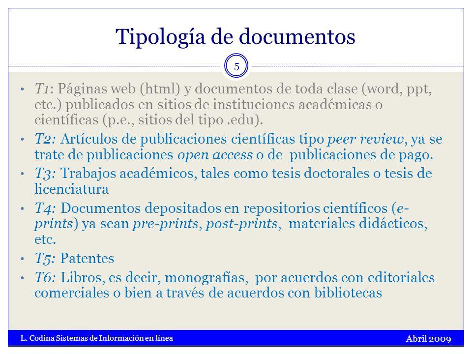 Tipología de documentos Abril 2009 L. Codina Sistemas de Información en línea 5 T1: Páginas web (html) y documentos de toda clase (word, ppt, etc.) pu