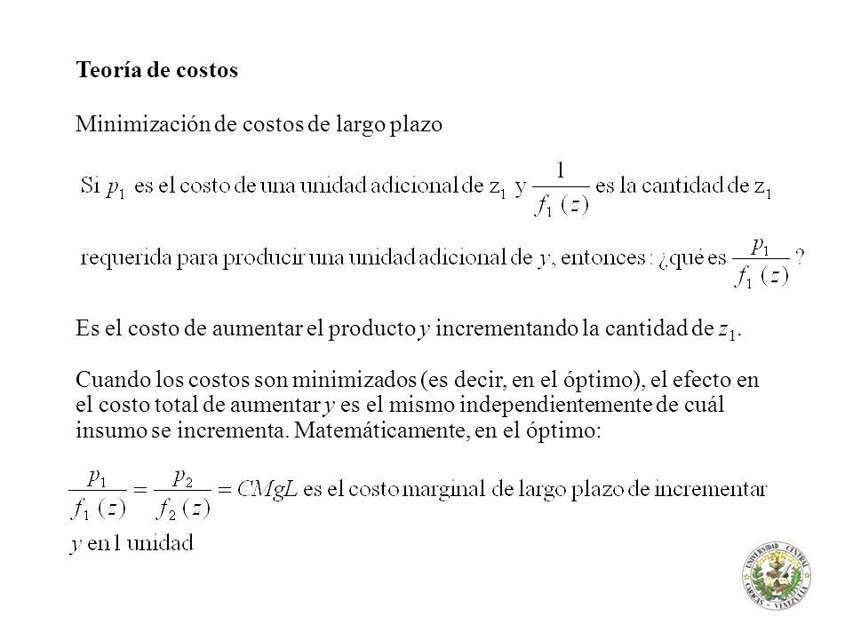 Teoría de costos Minimización de costos de largo plazo Es el costo de aumentar el producto y incrementando la cantidad de z 1. Cuando los costos son m