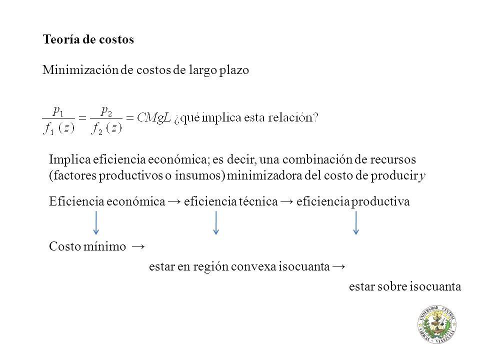 Teoría de costos Minimización de costos de largo plazo Implica eficiencia económica; es decir, una combinación de recursos (factores productivos o ins