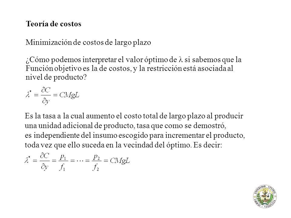 Teoría de costos Minimización de costos de largo plazo ¿Cómo podemos interpretar el valor óptimo de λ si sabemos que la Función objetivo es la de cost