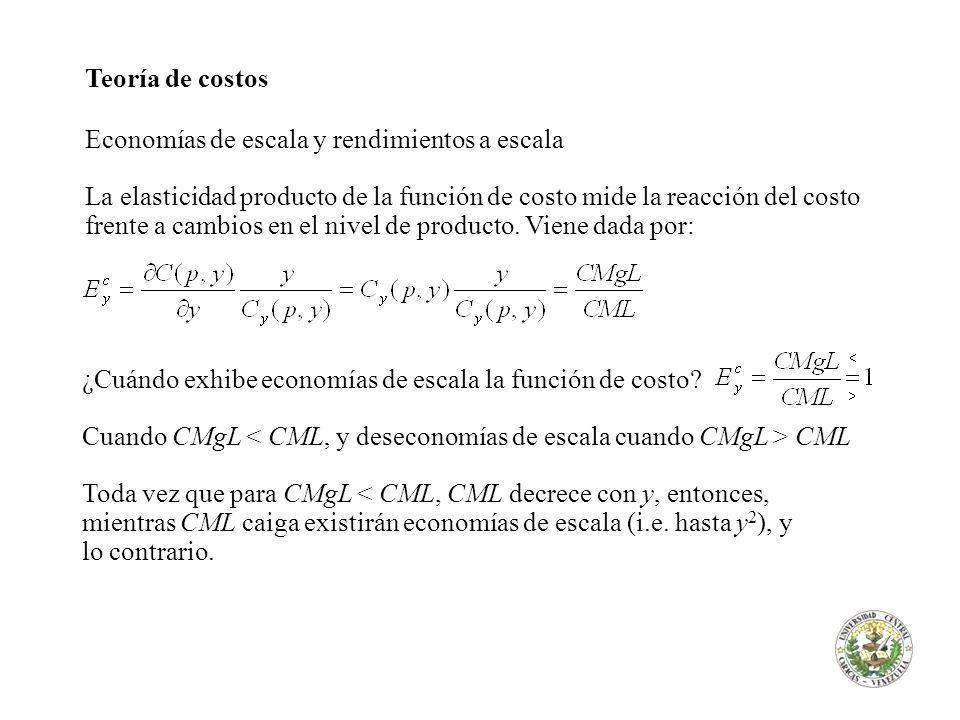 Teoría de costos Economías de escala y rendimientos a escala La elasticidad producto de la función de costo mide la reacción del costo frente a cambio