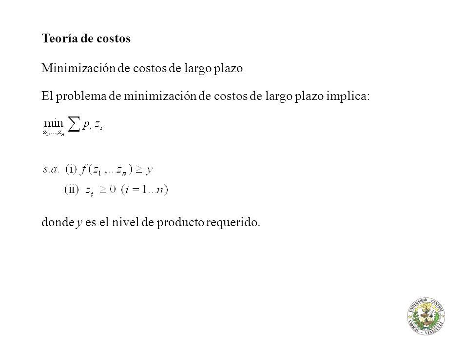 Teoría de costos Minimización de costos de largo plazo El problema de minimización de costos de largo plazo implica: donde y es el nivel de producto r