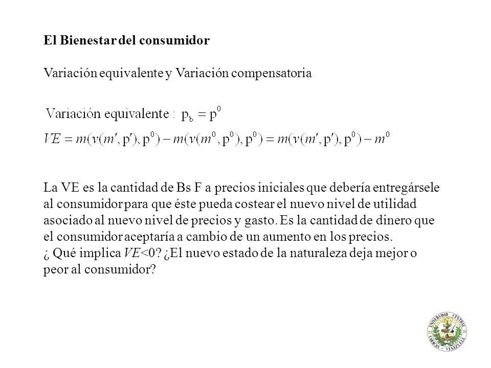 El Bienestar del consumidor Variación equivalente y Variación compensatoria La VE es la cantidad de Bs F a precios iniciales que debería entregársele