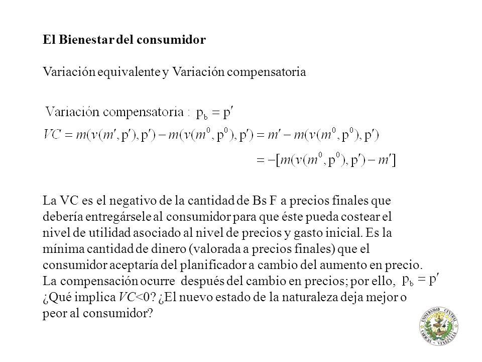 El Bienestar del consumidor Variación equivalente y Variación compensatoria La VC es el negativo de la cantidad de Bs F a precios finales que debería