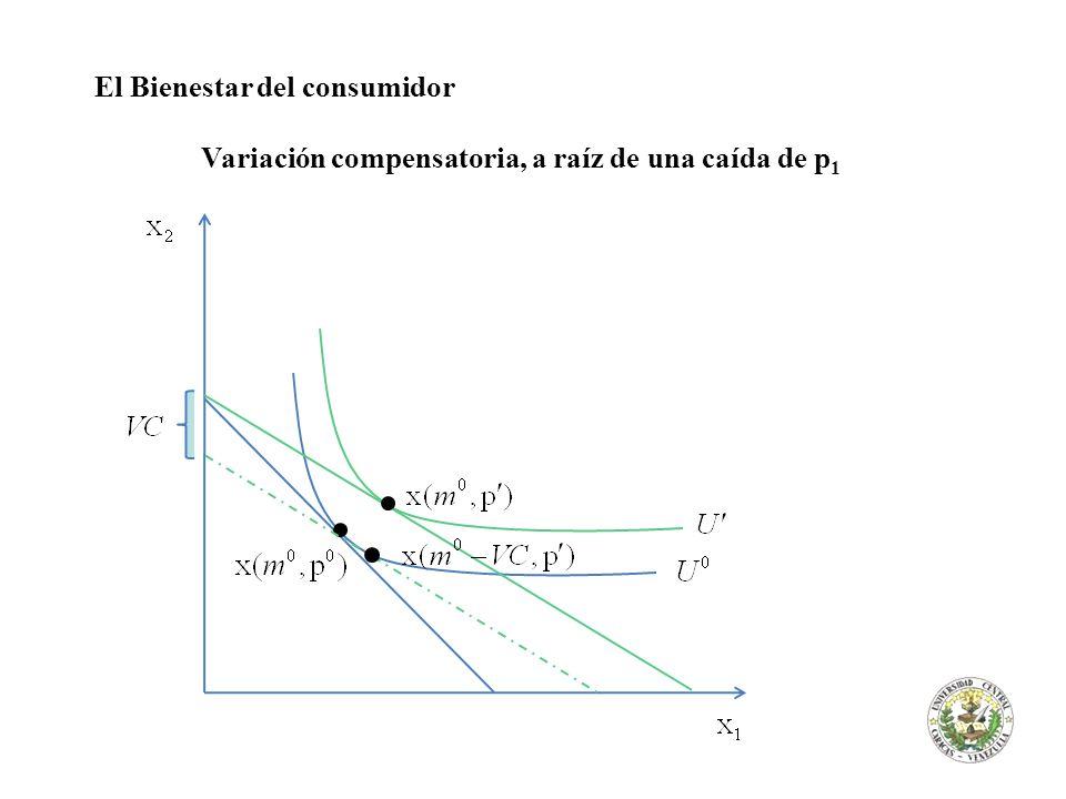 El Bienestar del consumidor Variación compensatoria, a raíz de una caída de p 1