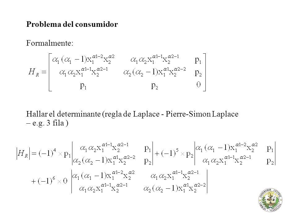 Problema del consumidor Formalmente: queremos que sea positivo para que sea un máximo, y determinar si lo es requiere substituir el valor de p 1 y p 2 por sus respectivas ecuaciones en términos de λ, o su valor númerico en caso de ser conocido