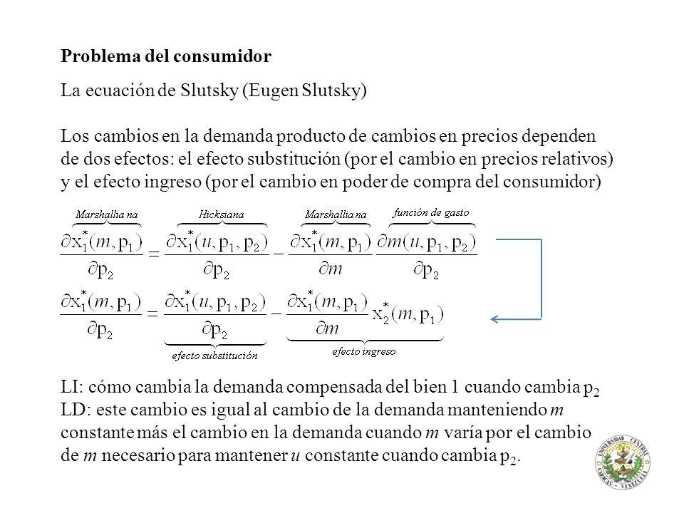 Problema del consumidor La ecuación de Slutsky (Eugen Slutsky) En general: