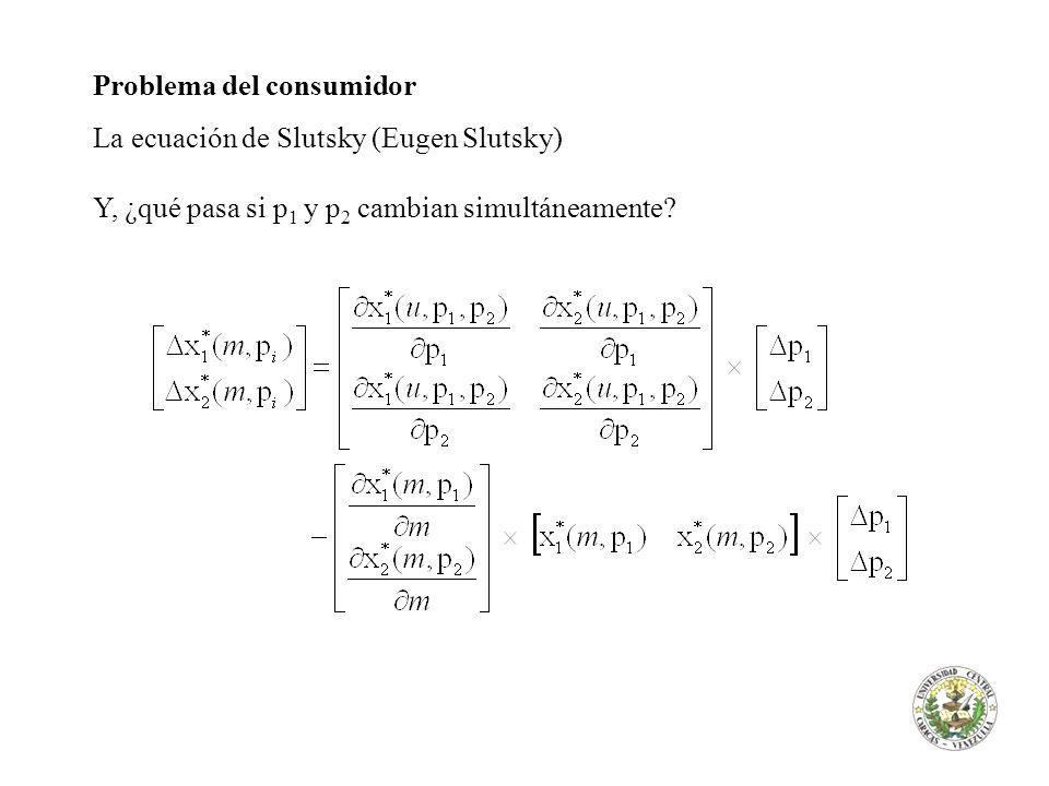 El Bienestar del consumidor Variación compensatoria, a raíz de una alza de p 1