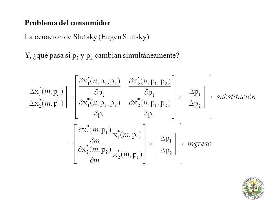 Problema del consumidor La ecuación de Slutsky (Eugen Slutsky) Y, ¿qué pasa si p 1 y p 2 cambian simultáneamente?