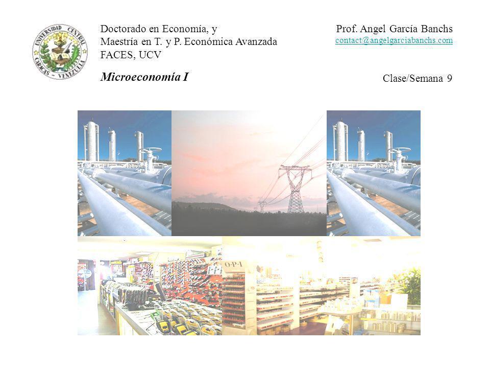 Doctorado en Economía, y Maestría en T.y P. Económica Avanzada FACES, UCV Microeconomía I Prof.
