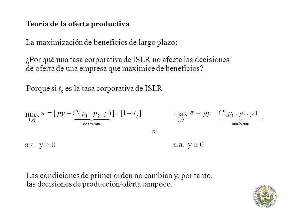 Teoría de la oferta productiva La maximización de beneficios de largo plazo: ¿Por qué una tasa corporativa de ISLR no afecta las decisiones de oferta de una empresa que maximice de beneficios.