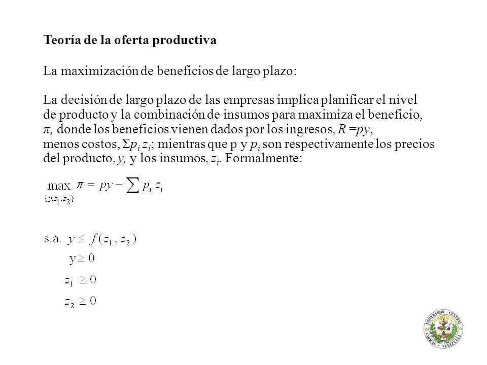 Teoría de la oferta productiva La maximización de beneficios de largo plazo: La decisión de largo plazo de las empresas implica planificar el nivel de producto y la combinación de insumos para maximiza el beneficio, π, donde los beneficios vienen dados por los ingresos, R =py, menos costos, Σp i z i ; mientras que p y p i son respectivamente los precios del producto, y, y los insumos, z i.