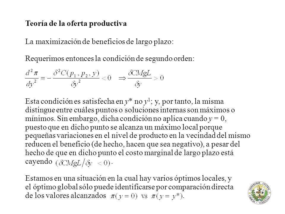 Teoría de la oferta productiva La maximización de beneficios de largo plazo: Requerimos entonces la condición de segundo orden: Esta condición es satisfecha en y* no y 1 ; y, por tanto, la misma distingue entre cuáles puntos o soluciones internas son máximos o mínimos.
