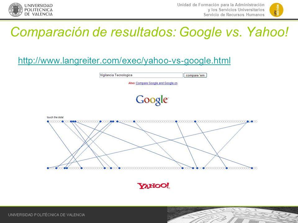 Unidad de Formación para la Administración y los Servicios Universitarios Servicio de Recursos Humanos Comparación de resultados: Google vs. Yahoo! ht