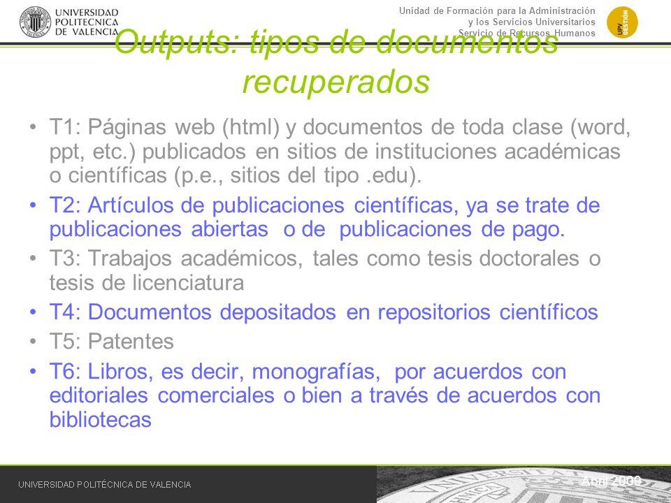 Unidad de Formación para la Administración y los Servicios Universitarios Servicio de Recursos Humanos Outputs: tipos de documentos recuperados Abril