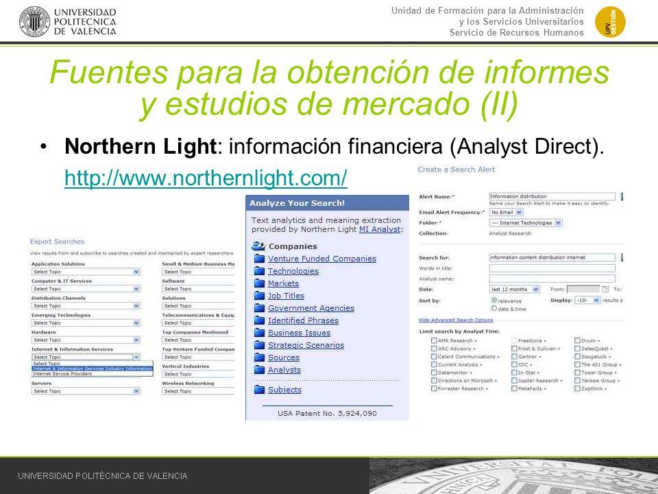 Unidad de Formación para la Administración y los Servicios Universitarios Servicio de Recursos Humanos Fuentes para la obtención de informes y estudio