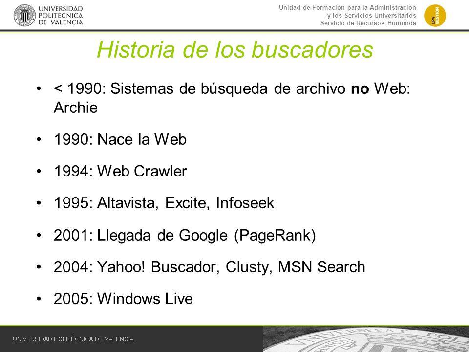 Unidad de Formación para la Administración y los Servicios Universitarios Servicio de Recursos Humanos Historia de los buscadores < 1990: Sistemas de