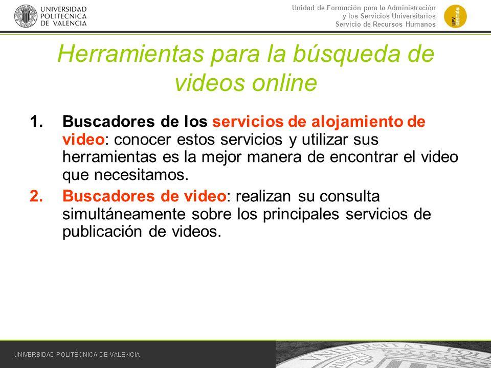 Unidad de Formación para la Administración y los Servicios Universitarios Servicio de Recursos Humanos Herramientas para la búsqueda de videos online