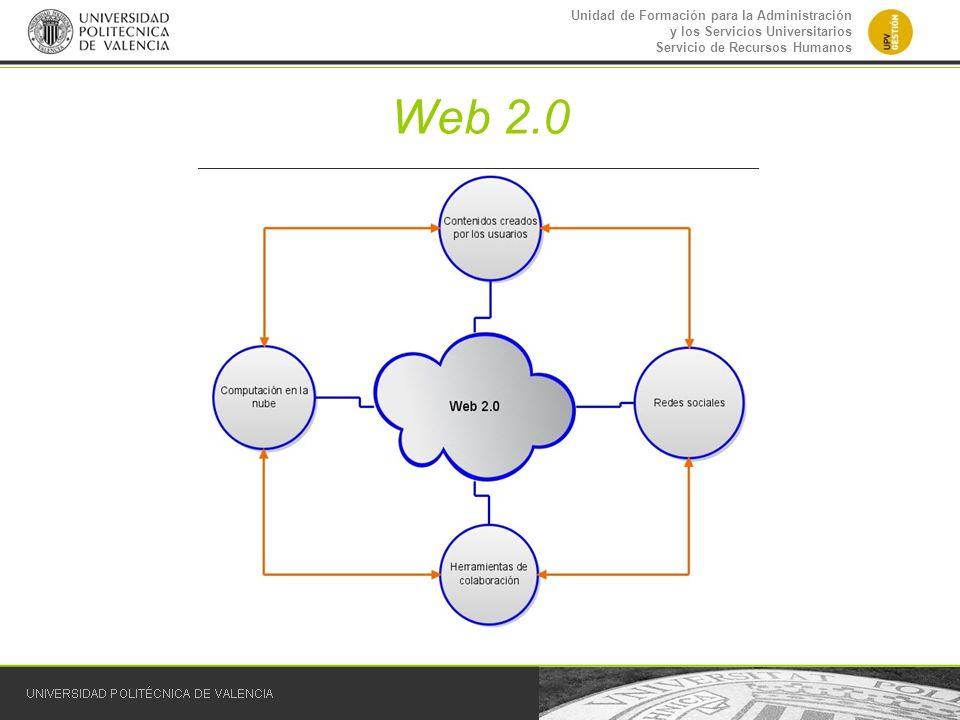 Unidad de Formación para la Administración y los Servicios Universitarios Servicio de Recursos Humanos Web 2.0