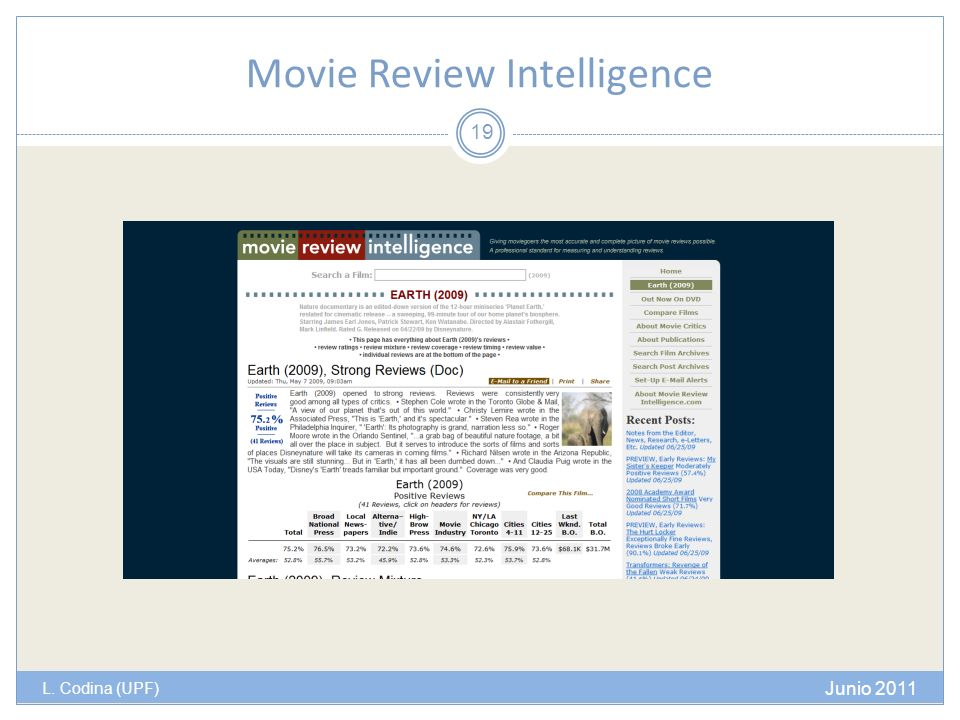 Movie Review Intelligence L. Codina (UPF) Junio 2011 19
