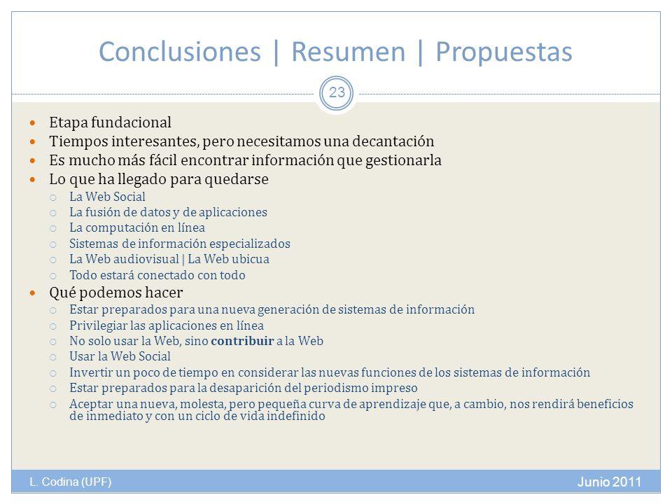 Conclusiones | Resumen | Propuestas L. Codina (UPF) Etapa fundacional Tiempos interesantes, pero necesitamos una decantación Es mucho más fácil encont