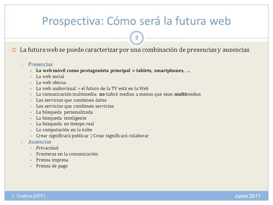 Prospectiva: Cómo será la futura web L. Codina (UPF) La futura web se puede caracterizar por una combinación de presencias y ausencias Presencias La w