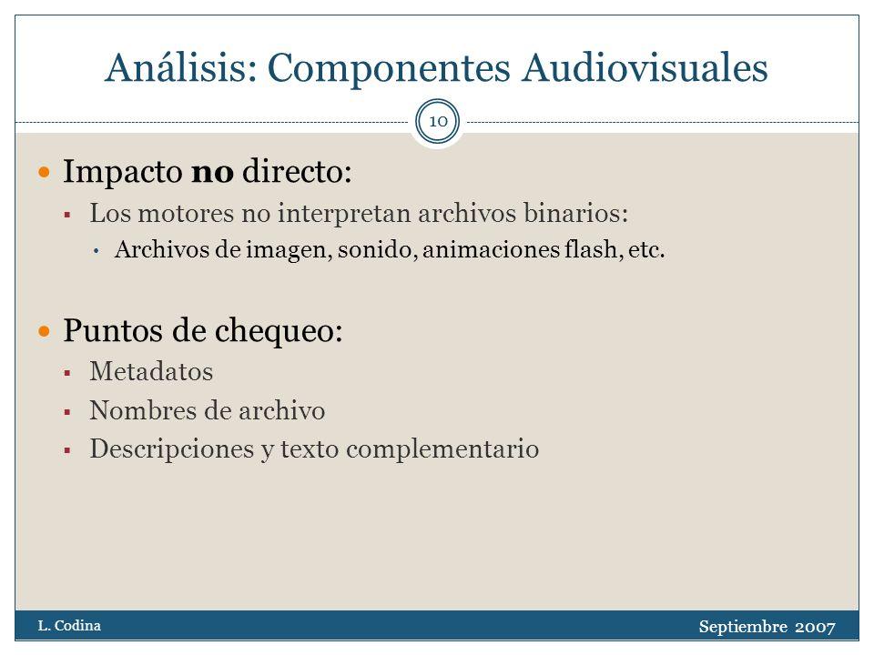 Análisis: Componentes Audiovisuales Impacto no directo: Los motores no interpretan archivos binarios: Archivos de imagen, sonido, animaciones flash, etc.
