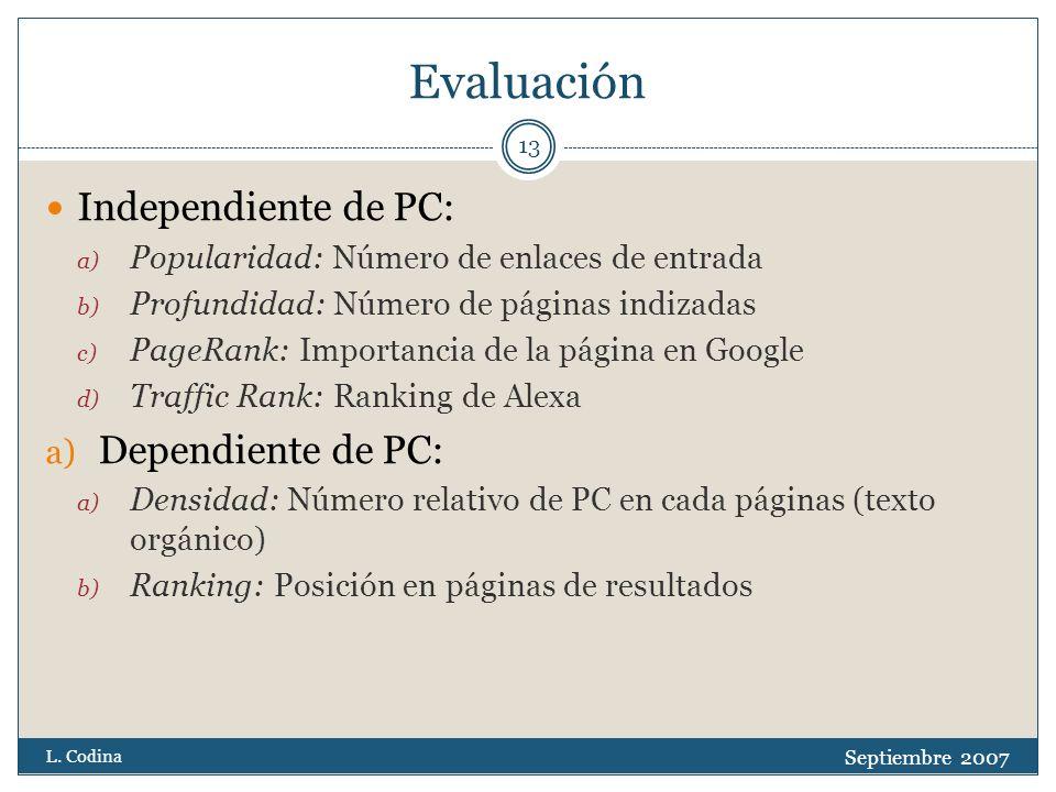 Evaluación Independiente de PC: a) Popularidad: Número de enlaces de entrada b) Profundidad: Número de páginas indizadas c) PageRank: Importancia de la página en Google d) Traffic Rank: Ranking de Alexa a) Dependiente de PC: a) Densidad: Número relativo de PC en cada páginas (texto orgánico) b) Ranking: Posición en páginas de resultados Septiembre 2007 L.