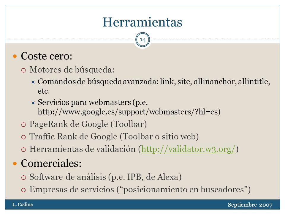 Herramientas Coste cero: Motores de búsqueda: Comandos de búsqueda avanzada: link, site, allinanchor, allintitle, etc.