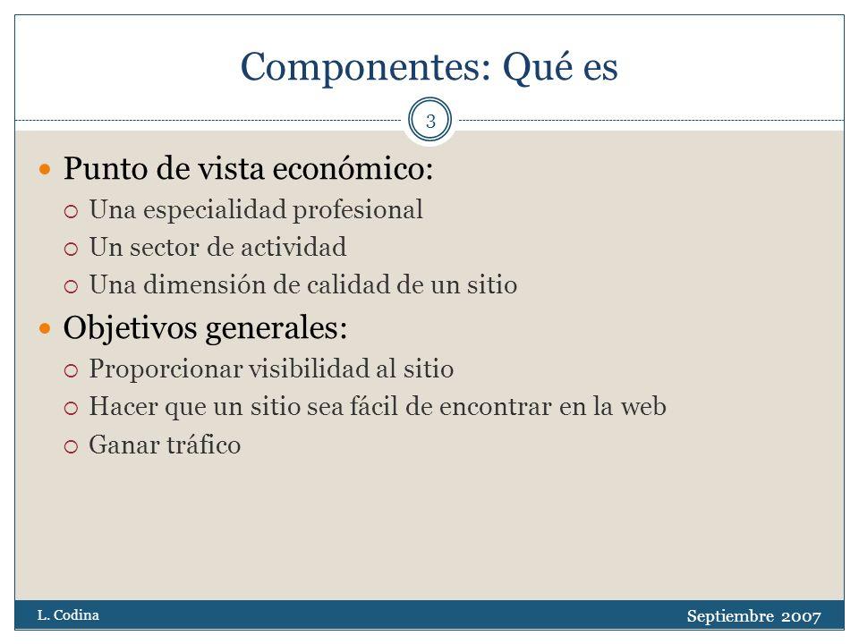 Componentes: Motivación Septiembre 2007 L.Codina 4 1.