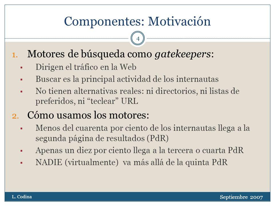 Componentes: Motivación Septiembre 2007 L. Codina 4 1.