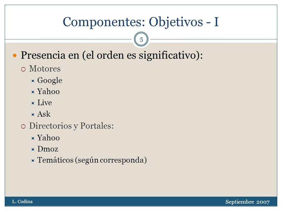 Fuentes - II Sitios web: Google: Guía para Webmasters http://www.google.es/support/webmasters/?hl=es http://www.google.es/support/webmasters/?hl=es Google: Herramientas para Webmasters https://www.google.com/webmasters/tools/docs/es/about.ht ml https://www.google.com/webmasters/tools/docs/es/about.ht ml Hipertext.net* http://www.hipertext.net http://www.hipertext.net Servicio de Alerta* http://docdigital.typepad.com/ http://docdigital.typepad.com/ *: Sitios relacionados con el autor Septiembre 2007 L.