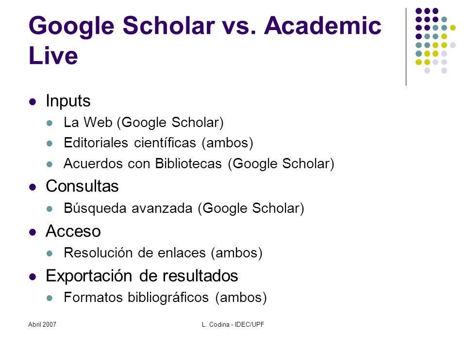 Abril 2007L. Codina - IDEC/UPF Google Scholar vs.