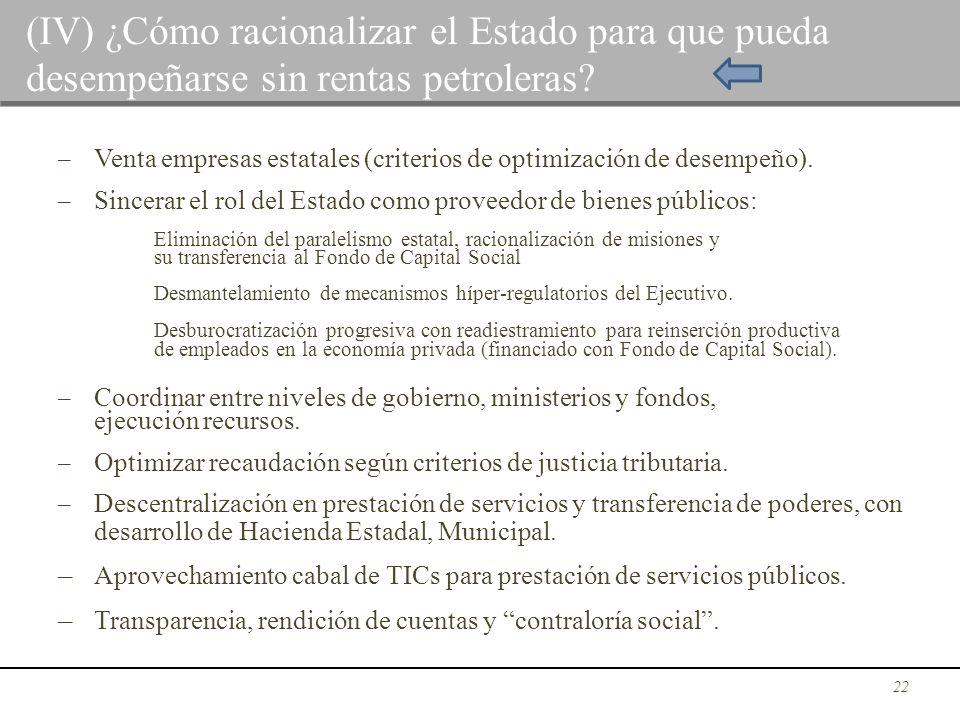 – Venta empresas estatales (criterios de optimización de desempeño). – Sincerar el rol del Estado como proveedor de bienes públicos: Eliminación del p